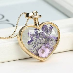 Natural Real Dried Flower Heart Glass Necklace